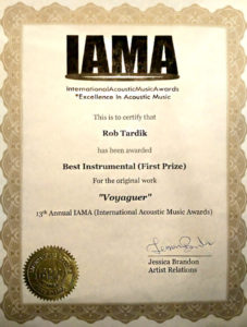 1st place in the IAMA (International Acoustic Music Awards) in 2017 for best instrumental composition for 'Voyageur'